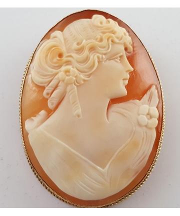Złoty broszo - wisior z kameą sygn. JA & S z ok. 1900 roku