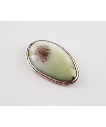 Srebrna broszka zdobiona naturalnym kamieniem-sygnowana M. Huculak