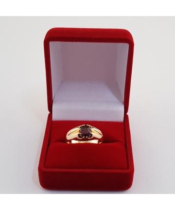 Złoty pierścionek zdobiony granatem - RYTO SZTUKA z lat 50-tych XX wieku