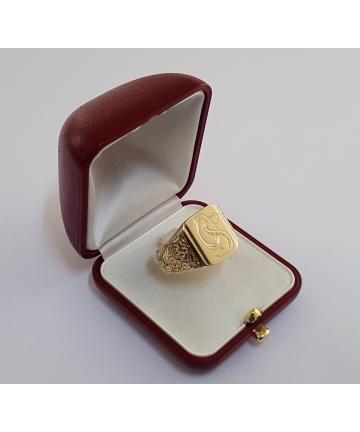 Złoty sygnet Art Deco z...