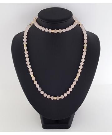 Złoty, Wiedeński naszyjnik zdobiony różowymi kwarcami w stylu Chanel