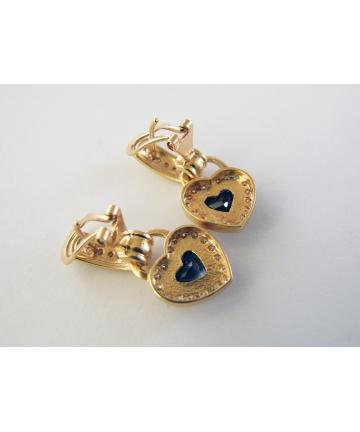 Kolczyki złote w stylu CHOPARD zdobine pięknymi szafirami i brylantami