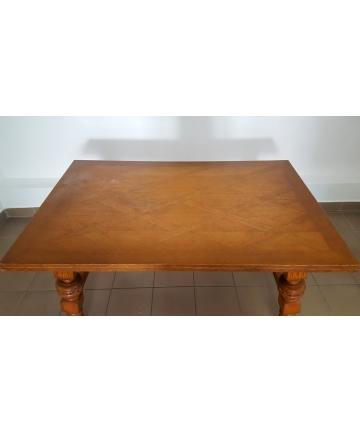 Zabytkowy Stół rozkładany, rzeźbiony, inkrustowany - 152 / 248 cm