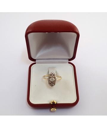 Złoty Wiedeński pierścionek Art Deco z lat 30-tych zdobiony diamentami