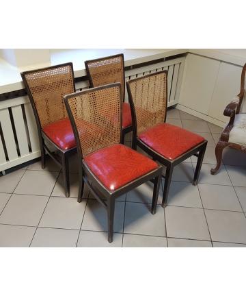 Krzesła Art deco z ratanowymi oparciami z około 1930 roku