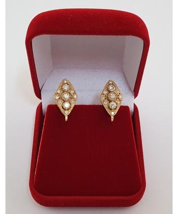 Złote kolczyki zdobione brylantami 0,89 carata
