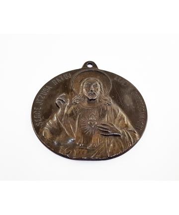 """Ryngraf """"Serce Jezusa Ratuj Lud Chrześcijański"""" z XIX wieku"""