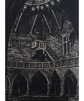 """Drzeworyt """"Kraków - Collegium Maius"""" autorstwa Stanisława Raczyńskiego"""