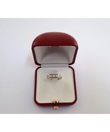 Złoty wiedeński pierścionek z brylantami - Art Deco z lat 30 tych XX wieku