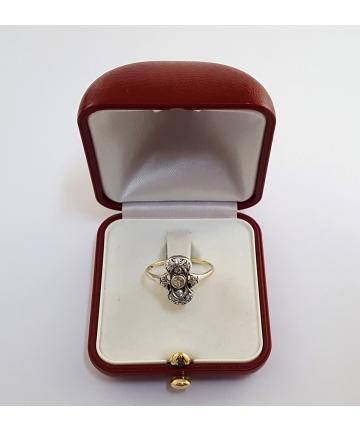 Wiedeński złoty pierścionek Art deco z diamentami