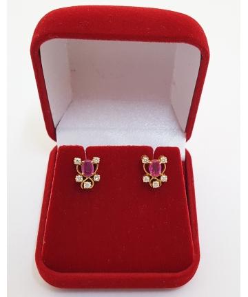 Kolczyki na sztyftach z rubinami 0,70 ct oraz brylantami 0,25 ct