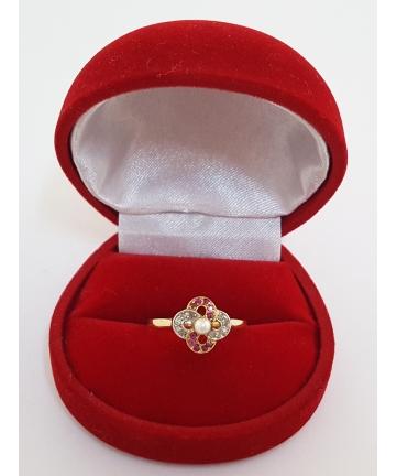 Pierścionek Art Deco złoto / platyna - Paryż rozm. 17