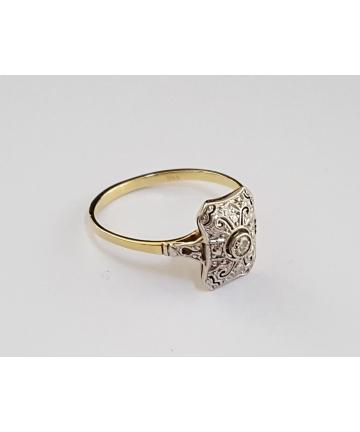 Złoty pierścionek Art deco, zdobiny brylantem 0,05 ct - CERTYFIKAT