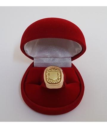 Złoty rosyjski sygnet z miejscem na herb lub monogram rodowy