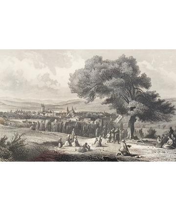 Drzeworyt w ramie z XIX wieku - Jägerndorf - Dolny Śląsk - Myślinów
