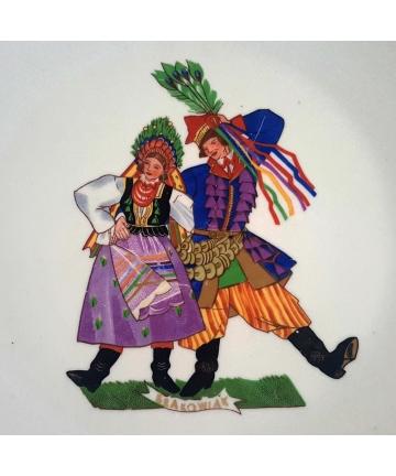 Talerz dekoracyjny projektu Zofii Stryjeńskiej - Ćmielów, średnica 29,5 cm