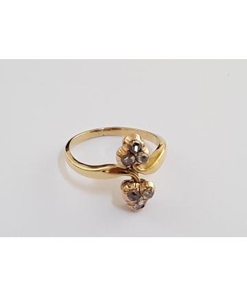 Złoty Wiedeński pierścionek z lat 20-tych zdobiony diamentami 0,32 ct