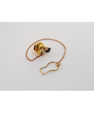 Złota wpinka do koszuli lub krawata z szafirem 0,5 ct oraz cyrkonią