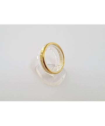 Srebrna, złocona obrączka (próby 3 ) - WARMET z lat 70-tych XX wieku, rozmiar 17