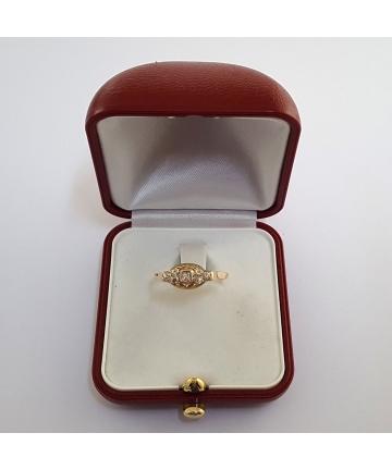 Złoty pierścionek z diamentami, rozmiar 20