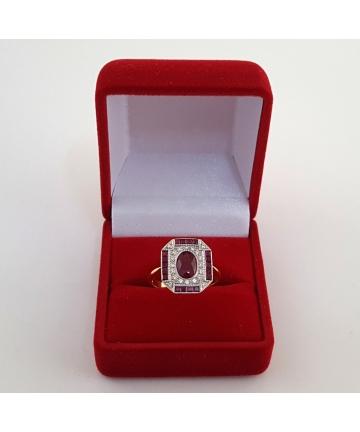 Złoty pierścionek z brylantami 0,20 ct oraz rubinami, rozmiar 14