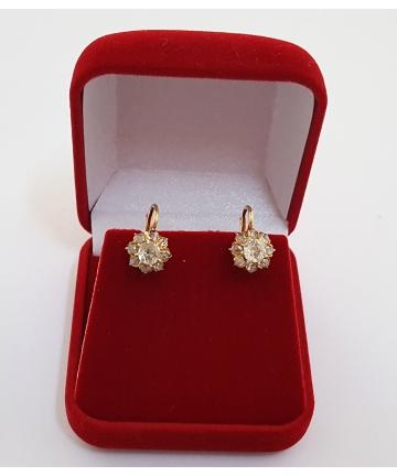 Złote kolczyki w stylu Cartier zdobione brylantami z około 1900 roku