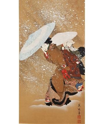 Sygnowana japońska grafika - By Fujimaro (18th-19th Century)