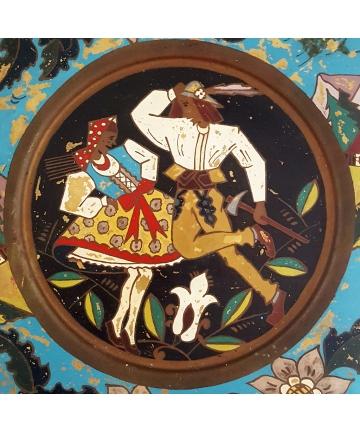 Ozdobny talerz zakopiański w stylu Zofii Srtyjeńskiej z lat 30-tych XX wieku