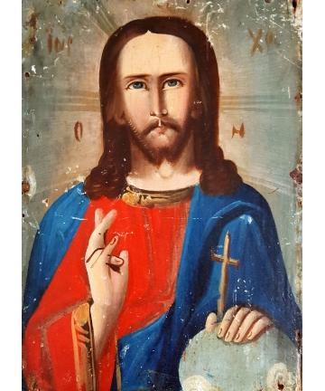 Ikona - Chrystus Salvator Mundi z końca XIX wieku
