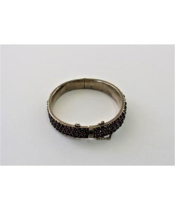 XIX wieczna bransoleta złocona DOUBLE, zdobiona granatami