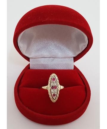 Złoty pierścionek zdobiony brylantami oraz rubinami, rozmiar 9