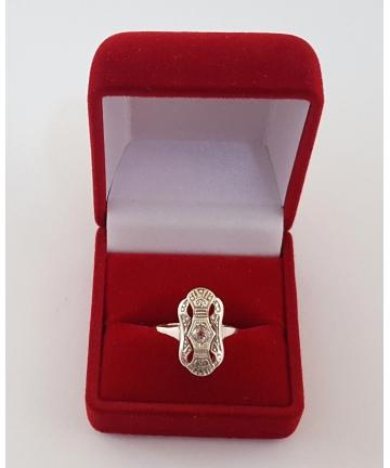 Pierścionek Art deco z diamentem 0,23 ct - Au 333 / Ag 935