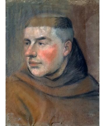 Portret mnicha z XIX wieku w neobarokowej ramie