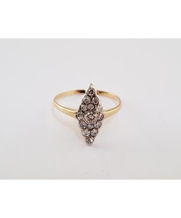 Złoty wiedeński pierścionek z diamentami rozmiar 14