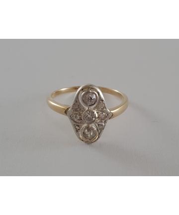 Wiedeński złoty pierścionek Art deco z diamentami, rozmiar 14