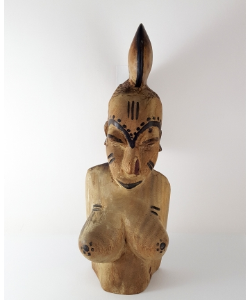Rzeźba - Popiersie kobiety - Afryka Środkowa - I połowa XX wieku, wysokość 36 cm