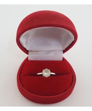 Złoty pierścionek z monsanitem, próba 585, sygnowany, rozmiar 14