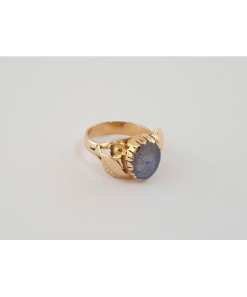 Złoty secesyjny pierścionek...