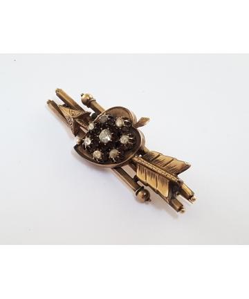 Złota broszka zdobiona diamentami 0,50 ct. z XIX wieku