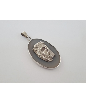 Srebrny medalion - Jezus Chrystus - kwarc ametystowy - lata 70-te XX wieku