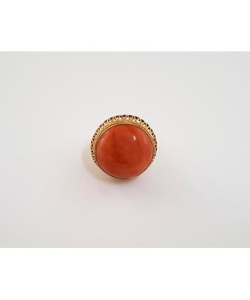 Złoty pierścień z naturalnym koralem, rozmiar 18