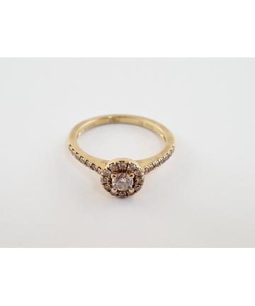 Złoty pierścionek z brylantami - YES wzór 940lM33 - certyfikat