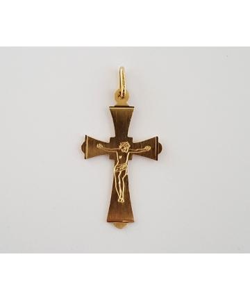 Złota zawieszka w formie krzyża w stylu gotyckim - nie używana
