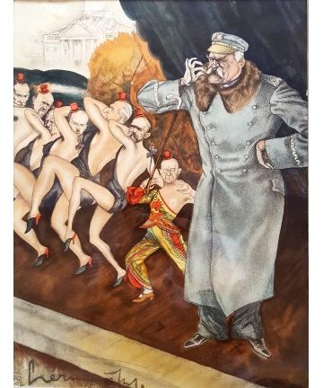 Karykatura J. Piłsudskiego - Zdzisław Czermański 1930 - litografia barwna
