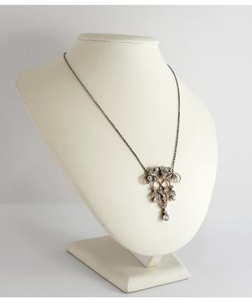 Naszyjnik wykonany ze złota oraz platyny, zdobiony brylantami i diamentami w starym szlifie 2,00 ct z około 1900 roku