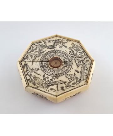 Kompas do Feng Shui z kości - XIX wiek - Chiny