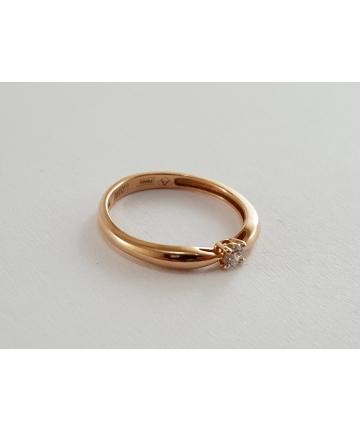 Złoty pierścionek próby 585 zdobiony brylantem 0,08 ct, rozmiar 10