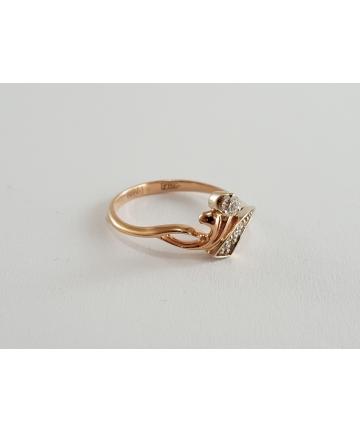 Złoty pierścionek próby 585 zdobiony 4 brylantami 0,07 ct, rozmiar 11