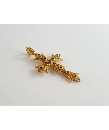 Złota zawieszka - Krzyż, próby 750, zdobiony 11 szafirami ok. 0,50 ct