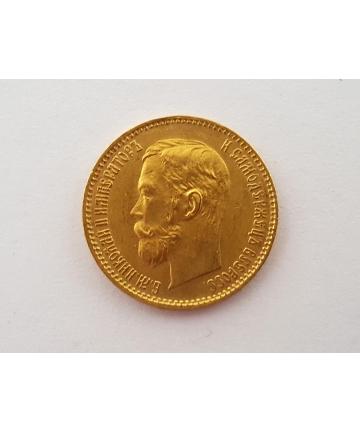 Złota moneta 5 Rubli 1900 rok